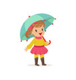 sweet little girl in warm clothing walking with vector image vector image