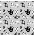 Teapots black and white patchwork seamless pattern vector image