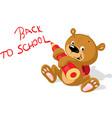 teddy bear writes an inscription in pencil - back vector image