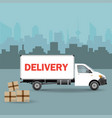 white delivery van with shadow and cardboard vector image vector image