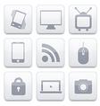 white technology app icon set Eps10 vector image