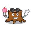 with ice cream tree stump character cartoon vector image vector image