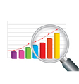 zoom magnifying glass and colorful graph vector image vector image