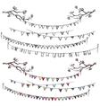 Doodle tree branches and party flags vector image