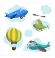 Set of cartoon aircraft vector image