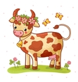 Cartoon cow that stands on a lawn with flowers vector image