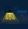404 error page not found with lamp post graphic vector image vector image