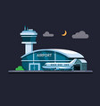 airport building at night concept in flat vector image vector image