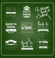 back to school logos set chalked label collection vector image