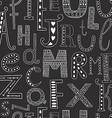 background with hand drawn alphabet vector image