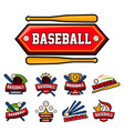 baseball game isolated icons sporting equipment vector image