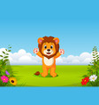 beautiful view with the little lion vector image vector image