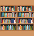bookshelve with books background library vector image