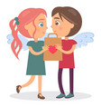 boy going to present gift box heart sign to girl vector image vector image
