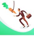 businessman running hanging carrot business vector image