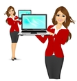 career woman holding a laptop vector image