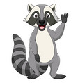 cartoon raccoon waving on white background vector image vector image