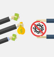 cash coronavirus medication vector image vector image
