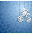 Christmas background with hanging snowflakes vector image