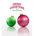 christmas background with two isolated balls vector image