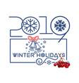 christmas logo design with rowan branch vector image vector image