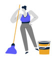 cleaning service or housewife woman mopping or vector image vector image