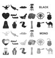 country united arab emirates black icons in set vector image vector image