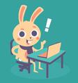Cute Bunny at Computer vector image vector image
