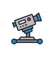digital cinema camera on wheels flat color line vector image vector image