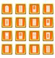 door icons set orange square vector image vector image
