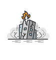 earth quake collapsed building flat line icon vector image