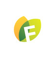 f letter leaf overlapping color logo icon vector image vector image