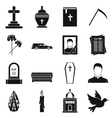 Funeral icons set simple style vector image vector image