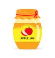 glass jar with homemade apple jam label