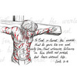 jesus christ in a crown of thorns on his head vector image vector image