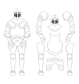 Medieval knight armor set Contour vector image