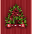 merry christmas tree imitation holidays pine vector image