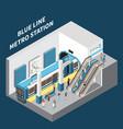 metro station isometric interior vector image vector image