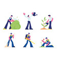 people care plants cleaning service set male vector image