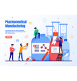 pharmaceutical manufacturing flat webpage vector image vector image