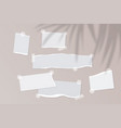 realistic empty torn paper notes with sticky tape vector image vector image