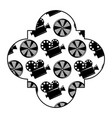 retro stamp with movie camera projector and reel vector image vector image
