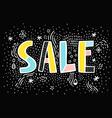 Sale doodle sign on black background vector image