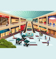 scene inside shopping mall vector image vector image
