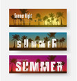 set of horizontal banners with a summer sunset vector image