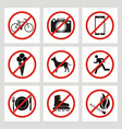 set of prohibition signs at the entrance to the vector image vector image
