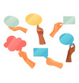 set speech bubble boards clouds in hands vector image