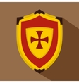 Shield with cross icon flat style vector image vector image