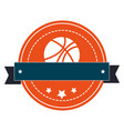 silhouette color emblem with basketball ball and vector image vector image
