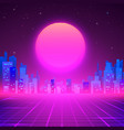 silhouetted night city on skyline 80s retro vector image vector image